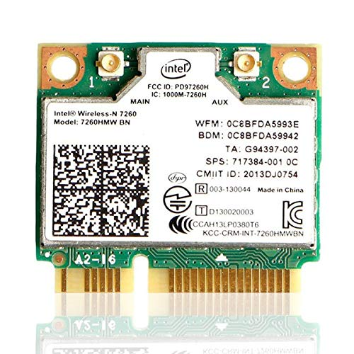 Dual Band 7260 Wirless Card MQUPIN- Intel 7260.HMW Dual Band Wireless-AC 7260 Network Adapter+Bluetooth 4.0 USE for Intel AC Half Mini Pcie Card 802.11 b/a/g/n/ac(1 Pack)