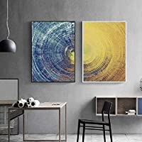 Abstract Blue Meets Yellow Wall Art Picture Canvas Painting Poster Print Wall Art Pictures Living Room Decoration 50x70cmx2 Unframed
