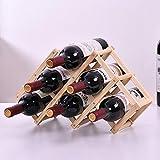 FTYYSWL Estante De Vino Tinto Ajustable De Madera Plegable De Bricolaje/Estante De Exhibición De Barra De Botella De 6/10 Decoración De Almacenamiento En El Hogar Botellero Nature 6
