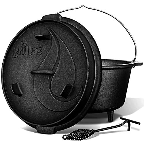 grillas Dutch Oven Set inkl. Rezeptideen | bereits eingebrannt - preseasoned | Feuertopf Gusseisen I Bräter mit Deckelheber und Henkel (Topf mit Füße, 7,3 Liter / 6 QT)
