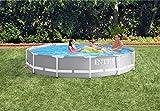 Intex 12FT X 30IN Prism Frame Pool Set Juego de Piscina con Marco de presión de 30,5 x 76,2 cm, Azul Claro, 366x366x76 cm