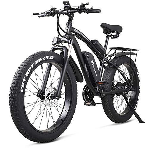 MX02S 26 Pulgadas Bicicleta eléctrica 1000W Bicicleta de montaña Bicicleta de Nieve 48V17Ah Batería de Litio 4.0 Neumático Gordo (Black, Estándar)