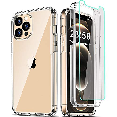 COOLQO Compatible for iPhone 12 Pro Max Case 6.7 Inch, with [2 x Tempered Glass Screen Protector] Clear 360 Full Body Coverage Silicone Protective 12 ft Shockproof Phone Cover