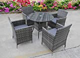 <span class='highlight'>UK</span> <span class='highlight'>Leisure</span> <span class='highlight'>World</span> NEW BISTRO 2-4-6 SEATER RATTAN WICKER DINING OUTDOOR GARDEN FURNITURE SET (Grey 4 seater)