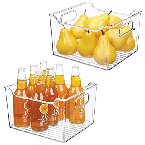 mDesign Juego de 2 cajas para nevera con asas – Organizador de frigorífico alto para almacenar alimentos – Contenedor transparente de plástico para el armario de la cocina o la nevera – transparente