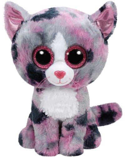 TY TY37067 Cat Lindi, Katze pink 24cm, mit Glitzeraugen, Beanie Boo's, andere