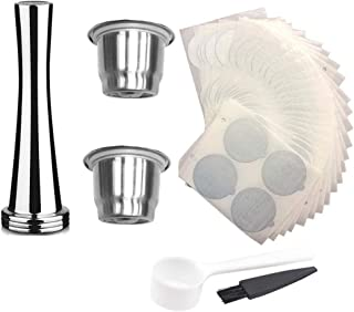 Volwco Stainless Steel Refillable Coffee Capsules Reusable Coffee Pods with Spoon, Cleaning Brushes and Powder Hammer, Compatible for Nespresso Original Line Machine