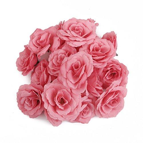 20 Stueck Rosa Rosenkoepfe Kunstseideblume, Hochzeit Garten Dekor Diy