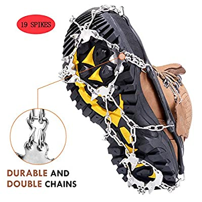 Ice Snow Grips Crampons,TURNRAISE Traction Cleats Ice Snow Grips with 19 Spikes for Womens Mens Boots Shoes Safe Protect for Walking,Jogging,Climbing and Hiking on Snow,Ice,Mud,Sand and Wet Grass