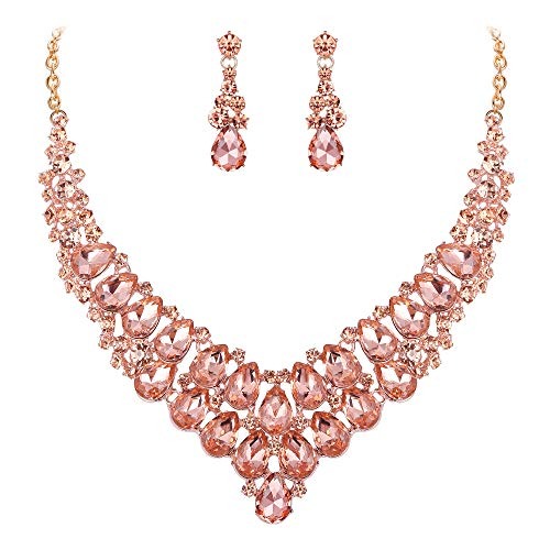 EVER FAITH Women's Bridal Jewelry Accessory Austrian Crystal Teardrop Necklace Earrings Set Champagne Gold-Tone