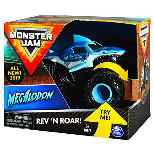 Monster Jam 6053251 - Original Monster Jam Megalodon Rev 'N Roar Monster Truck mit Soundeffekt, Maßstab 1:43