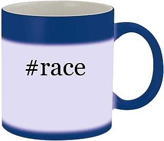 #race - Ceramic Hashtag Blue Color Changing Mug, Blue