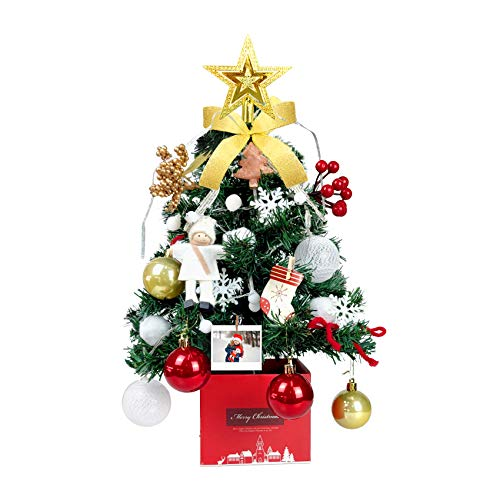 20.5'/52cm Christmas Tabletop Tree - Christmas Tree Mini - Artificial Mini Christmas Tree with LED String Lights & Ornaments