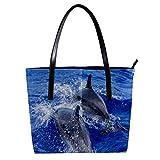 TIZORAX Play Dolphins - Bolso de mano de piel sintética para mujer, con asa superior