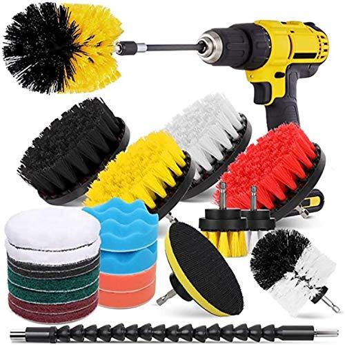 POUAOK Borrborsttillbehörssats 23 st borrborsttillbehörsset kraftskrubbare dyna svampkit för badrum, bil, injektering, matta, golv (färg: Flerfärgad, S (färg: färgad)
