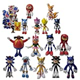 Figura Sonic 9 unids/set figura grande + 6 unids/set figura pequeña juguetes peluche sónicos Metal S...