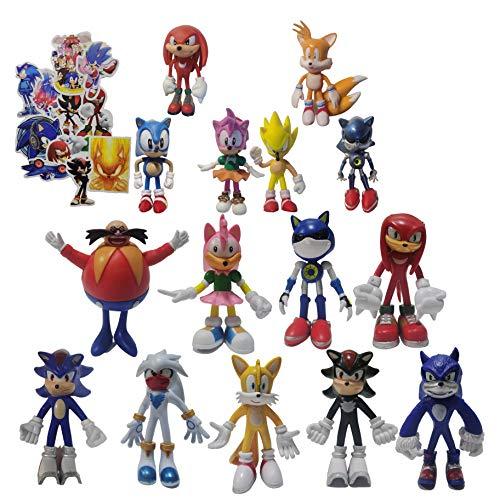Juguetes Sonic Sonic Classic The Hedgehog PVC figura de acción modelo niños decoración de la torta y decoración de la torta de la taza
