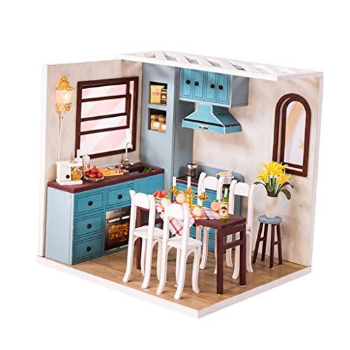 Hellery 1:24 Dollhouse Miniature DIY Doll House Kits Kitchen Dining Room Kids Toys
