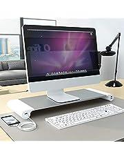 PG 机上台 モニタースタンド 4 USBポート付き キーボード収納 アルミ合金製ブラケット デスク 卓上 収納整理 便利