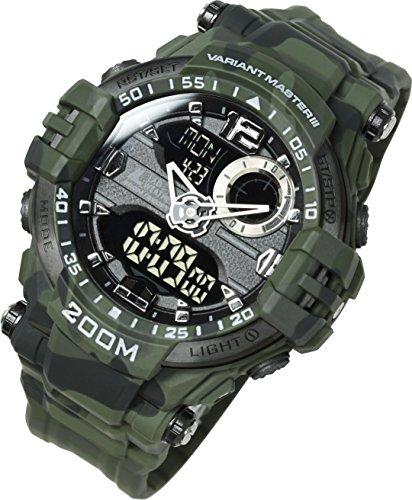 Lad Weather Reloj analógico-digital 200 m Impermeable Cronógrafo Minutero Alarma Hora mundial Naval Camuflaje Combate
