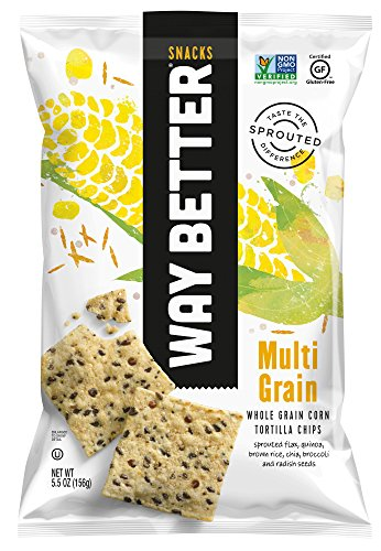 Way Better Snacks Sprouted Gluten Free Tortilla Chips, Sunny Multi Grain, 12 Count