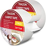 Carpet Tape Double Sided - Rug Tape Grippers for Hardwood Floors and Area Rugs - Carpet Binding Tape Strong Adhesive and Removable, Heavy Duty Sticky Tape, Residue Free ((2 Inch / 12 Yards) 2Pack)