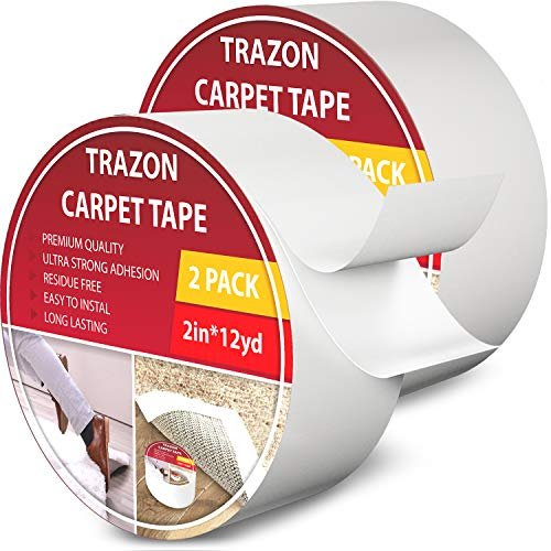Carpet Tape Double Sided - Rug Tape Grippers for Hardwood Floors and Area Rugs - Carpet Binding Tape Strong Adhesive and Removable, Heavy Duty Sticky Tape, Residue Free (2 Inch / 12 Yards)