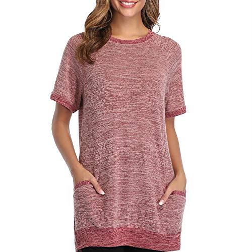 Primavera y Verano Camisa de Cuello Redondo para Mujer Sudadera de Manga Corta Camiseta