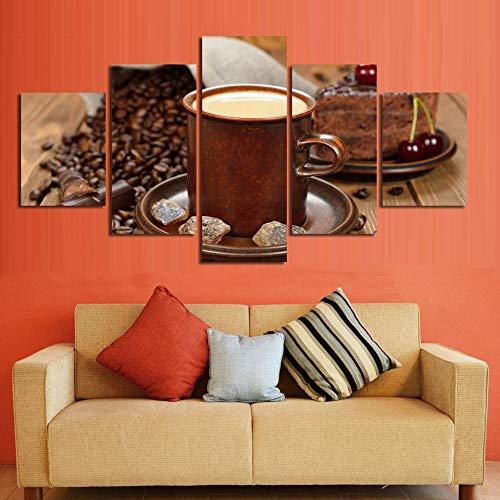QAZWSY canvas schilderij muurkunst Hd prints 5 stuks decoratie koffie zoete drank modulaire afbeeldingen kunstwerk poster 30x40 30x60 30x80cm Frame