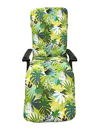 TIENDA EURASIA® Cojín para Tumbona de Jardín - Estampados Tropicales - Cojín Acolchado Relleno de Fibra - Medidas 120-180 x 50 x 10 cm - Ideal para tumbonas, sillas y hamacas. (Tropical 4, 180 cm)