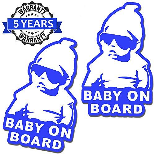 SkinoEu® 2 stuks vinyl sticker autosticker stickers baby on board kind veiligheid kinderen aan boord auto motorfiets raam deur B 168
