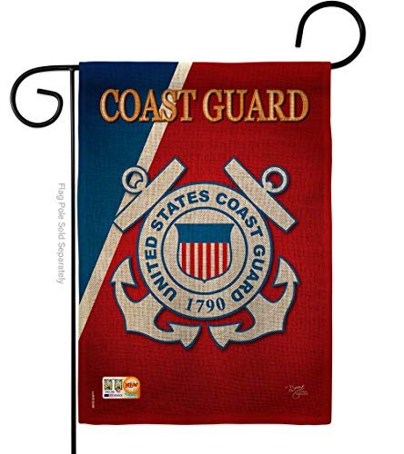 Coast Guard Burlap Garden Flag Armed Forces USCG Semper Paratus United State American Military Veteran Retire Official Small Decorative Gift Yard House Banner Double-Sided Made In USA 13 X 18.5