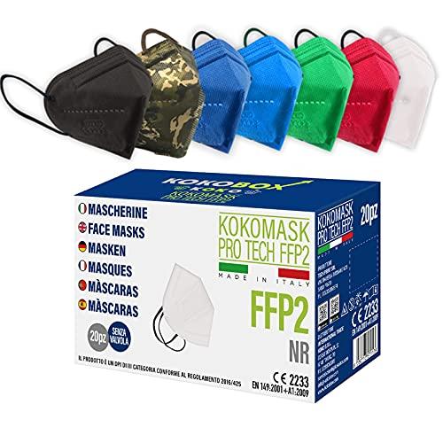 20pcs Mascarillas FFP2 de Colores Mascarillas MULTICOLORI Adultos Desechables Alta Eficiencia 5 Capas Envasadas Individualmente Ficiencia del filtro EFP ≥95% Máscaras Certificado CE2233