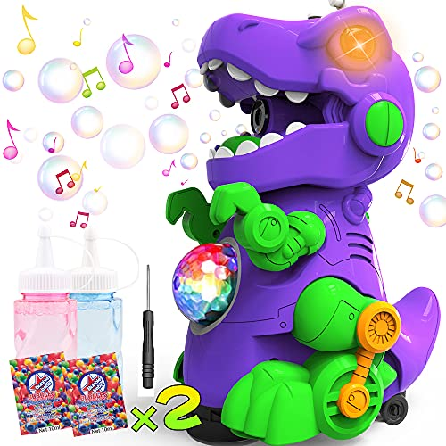 Bubble Machine for Kids Toddlers, Dinosaur Bubble Maker with Colorful LED Lights & Music, Self-Walking Automatic Bubble Blower for Boys Girls Toy Party Birthday Gift, 3000+ Bubbles Per Minute (Purple)