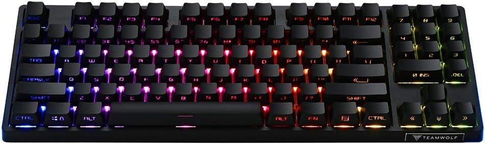 Mechanical Gaming Keyboard, Teamwolf 89 Keys Universal Blue Switch Adjustable RGB Backlight DIY Plug in Switches