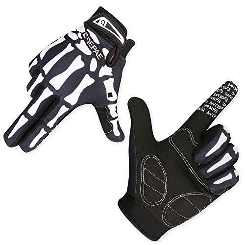 CAheadY Schädel Skelett Outdoor Sport Radfahren Warme Anti-Rutsch-Vollfinger-Unisex-Handschuhe Green M