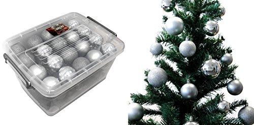 Lot 70 boules de Noël 4/5/6cm - Noel Décoration Sapin - Argent - 489