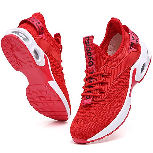 Casual Shoes for Women Tennis Athletic Running Jogging Gym Sneakers Breathable mesh Stylish Workout Walking Shoes Comfort Red Size 8.5