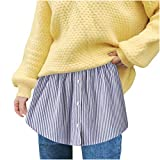 Extensor de camiseta para mujer, mini falda de encaje, flores, ajustable, extensor, falda minifalda, capa falsa, top lower Sweep Set para suéteres, sudaderas azul S