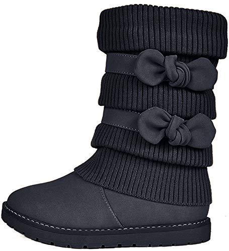 DREAM PAIRS Big Kid Klove Black Faux Fur Lined Mid Calf Winter Snow Boots Size 6 M US Big Kid
