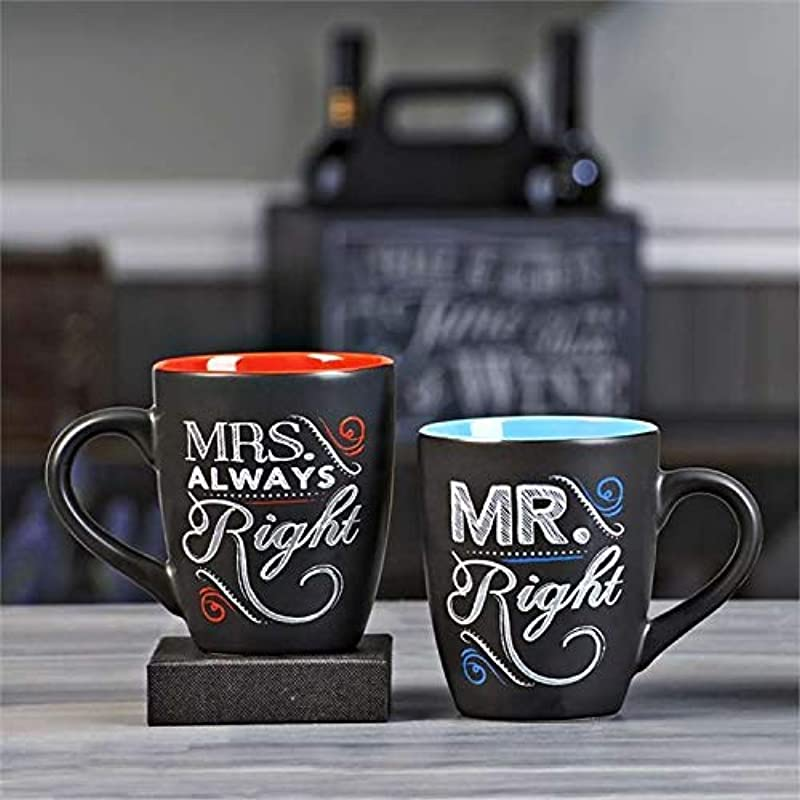 Novelty Coffee Tea Mug Set For Newlyweds Chalk Talk Mr Right And Mrs Always Right Set Of 4 Mugs