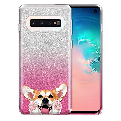 FINCIBO Case Compatible with Samsung Galaxy S10 6.1 inch, Shiny Sparkling Silver Pink Gradient 2 Tone Glitter TPU Protector Cover Case for Galaxy S10 (NOT FIT S10 Plus) - Red Pembroke Welsh Corgi Dog