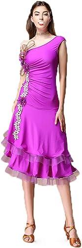DRESSS Costumes de Danse Latine pour Femmes, Robes de Concours pour Adultes (Couleur   violet, Taille   L)