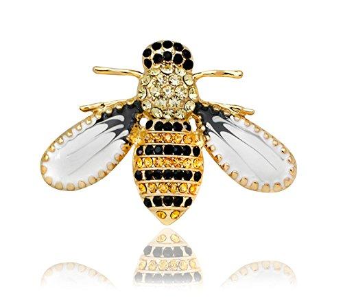 KristLand - Brosche Damen,Gold Farbe Süße Emaille Delicate Biene Tiere Brosche mit österreichischen Kristall Halloween/Männer/Frauen/Outfits/Geschenkbox