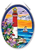 Amia Oval Suncatcher with Lighthouse Design, Hand Painted Glass, 6-1/2-Inch by 9-Inch