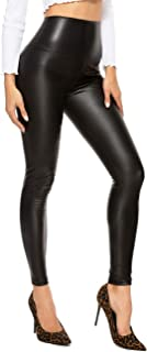 RIOJOY Faux Leather Leggings for Women Wet Look Full Length High Waist Leather Trousers