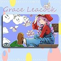 Grace Leacock カードゲームプレイマット 遊戯王 プレイマット hololive ホロライブ 湊 あくあ YouTuber アニメグッズ TCG万能 収納ケース付き アニメ 萌え カード枠なし (60cm * 35cm * 0.5cm)
