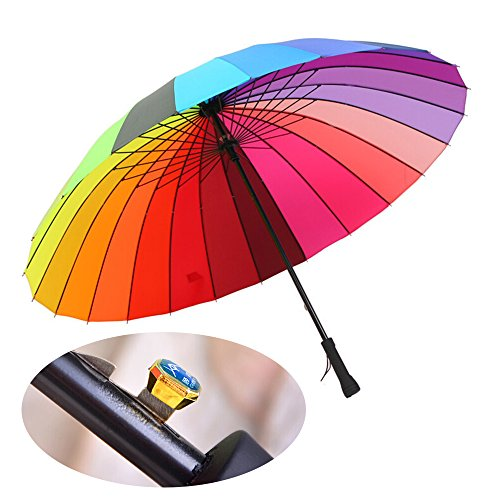 meizhouer 24k Rib Large Color Rainbow Umbrella Fashion Long Handle Straight Anti-UV...