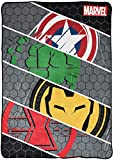 Jay Franco Marvel Avengers Intro Blanket - Measures 62 x 90 inches, Kids Bedding Features Captain America, Iron Man, & Hulk - Fade Resistant Super Soft Fleece (Official Marvel Product)