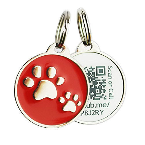 PINMEI Zine Alloy Scannable QR Code Pet Dog Cat ID Tag, Powered by PetHub (Red)